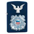 United States Coast Guard Seal and Eagle Zippo Lighter - Navy Matte - 28681 Zippo